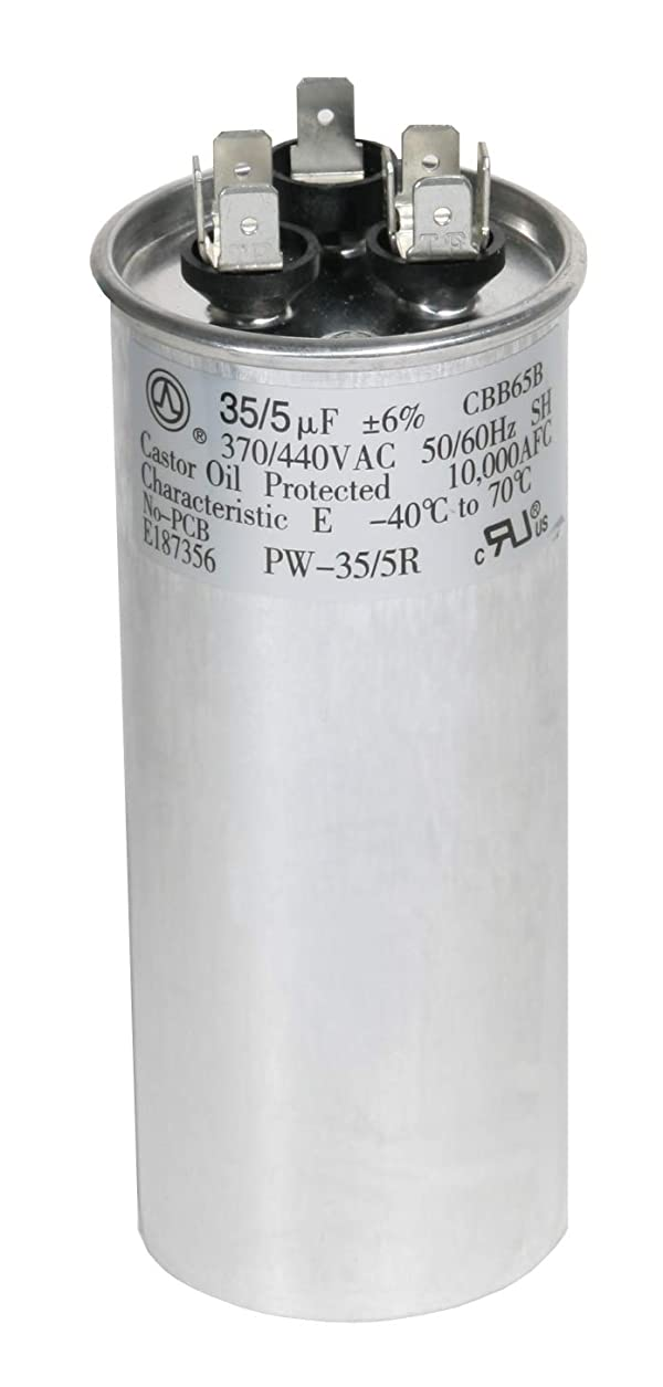 PowerWell 35 5 MFD uf 370 VAC or 440 Volt Dual Run Round Capacitor PW-35//5//R