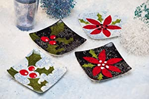 Evergreen Enterprises 3PSS3639 6 in. Ceramic Square Appetizer Plate - Flurries - Set of 4