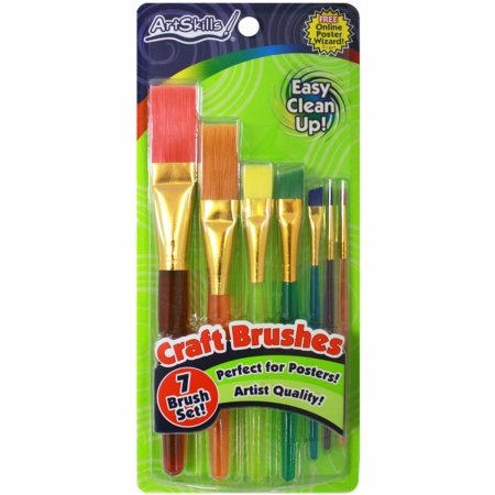 Artskills PA1206 Craft Brushes 7/Pkg-Assorted Sizes From Detail To Broad