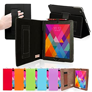 Snugg iPad 4 & iPad 3 Leather Case in Black - Flip Stand Cover with Elastic Hand Strap and Premium Nubuck Fibre Interior - Automatically Wakes and Puts the Apple iPad 4 & 3 to Sleep
