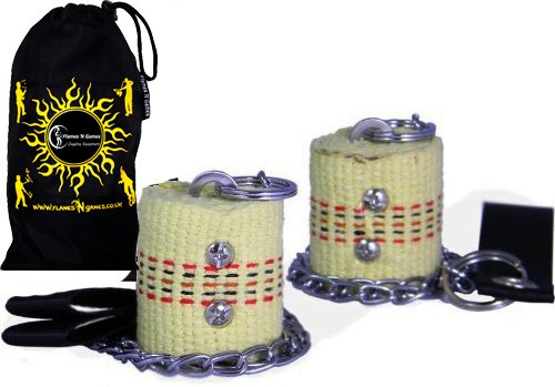 Starter Fire Poi Set By Flames N Games - 45Mm Wicks + Travel Bag!
