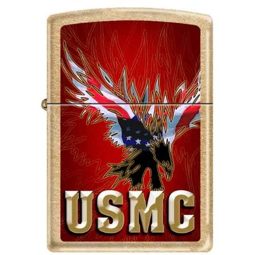 US Marine American Flag Eagle USMC Brass Military Gold Dust Zippo
