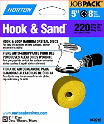 Norton 49218 5-Inch 8 Hole P220 Hook and Loop Discs, 25-Pack