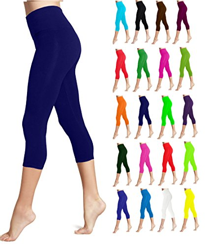 Lush Moda Seamless Capri Length Basic Cropped Leggings - Variety of Colors - Navy