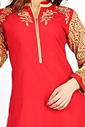 Feather Touch Women's Cotton Kurti (FT3552RD1_Red_38)