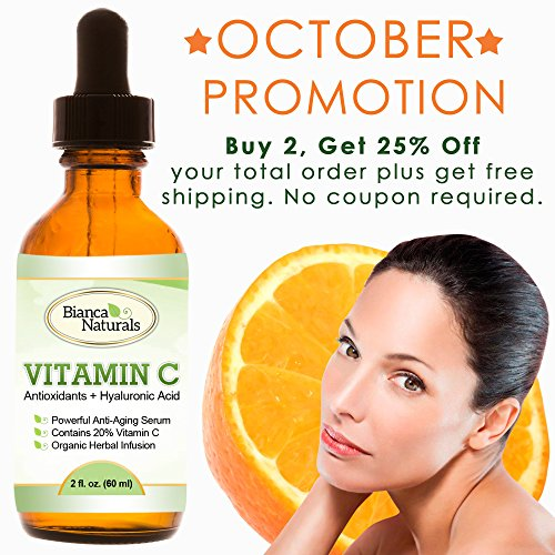 Vitamin C Serum For Face - 2 Ounce Luxury Brand | Triple Action Strength: 20% Vitamin C + Hyaluronic Acid + Amino Acids | Best Anti Aging Serum | Facelift Without Surgery, Skin, Free Radical Recovery | Nutritional Skin Supplement, Vitamin C Benefits, Pure