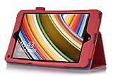 【VSTN】全四色 マイクロソフト Surface Mini 専用保護ケース 超薄型 超軽量 ハンドストラップ付き、カッドスロット付き、micro SDカードスロット付き、内蔵マグネット開閉式、タッチペンホルダー付き、高級PU レザー ケース(レッド)