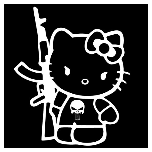 2x-Hello-Kitty-AK47-Gun-Car-Truck-Window-Vinyl-Dcor-Sticker-Wall-Art-Decal-Bomb-4X4