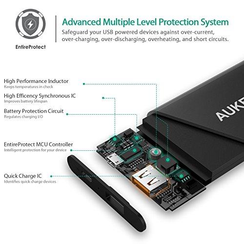 AUKEY Quick Charge 2.0 Banco de Batería 6000mAh [Qualcomm Certificado] con Tecnología AiPower para iPhone 6s/ 6s Plus, iPad, Samsung Galaxy S7, Xiaomi, HTC, LG (Negro)