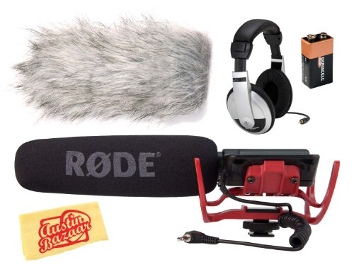 Rode Videomic-R Directional On-Camera Microphone Bundle With Rode Deadcat Wind Shield, Headphones, Battery, And Polishing Cloth