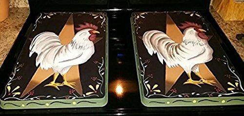 Primitive Country Folk Rooster Stove Burner Cover Set (Rooster Stove Burner Covers compare prices)