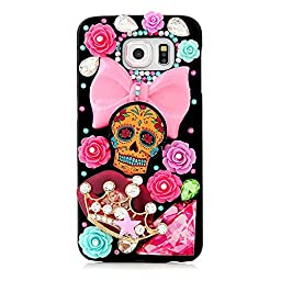 Samsung Galaxy S7 Case, Sense-TE Luxurious Crystal 3D Handmade Sparkle Diamond Rhinestone Clear Cover with Retro Bowknot Anti Dust Plug - Big Bowknot Skull Crown Flowers / Colorful