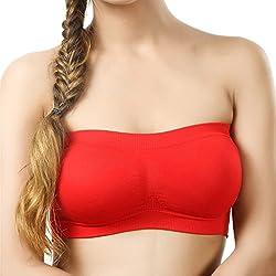BYC TB-1005 Red Non-Padded Tube Bra for Girl's & Women-32