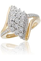 1/10 ctw Cluster Ring in 10k Yellow Gold
