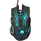 Coolbiz 6 Button 5500 DPI LED Optical USB Wired Gaming PRO Mouse Mice For PC Laptop Black