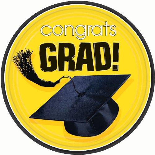 Congrats Grad Yellow Graduation Dessert Plates