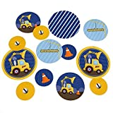 Construction Truck - Baby Shower or Birthday Party Table Confetti - 27 Count (Color: Blue,Yellow)