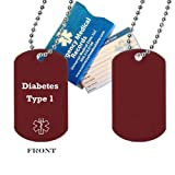 "Pre-engraved ""Diabetes Type 1"" Medical Alert Identification Red Anodized Aluminum Dog Tag. Choose from Diabetes, Coumadin, Blood Thinners, Seizures, Asthma, Pacemaker, Allergy and many more..."