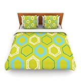 """Kess InHouse Laurie Baars """"Hexy Lime"""" Green Blue King Fleece Duvet Cover, 104 by 88-Inch"""
