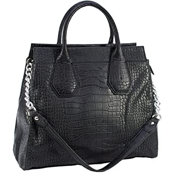 Dasein Faux Leather Embossed Croco Satchel Bag Handbag (Black)