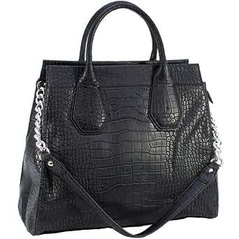 Dasein Faux Leather Embossed Croco Satchel Bag Handbag (Black)