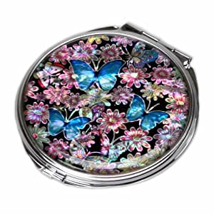 Antique Alive Mother Of Pearl Blue Butterfly Design Double Compact Makeup Cosmetic Personal Handbag Purse Mirror, 3.2 Ounce