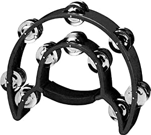 Double Row TAMBOURINE - Metal Jingles Hand Held Percussion Ergonomic Handle