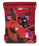 Disney Big Hero 6 Mech Bay Max and Hero Drawstring String Backpack School Sport Gym Tote Bag!- Red