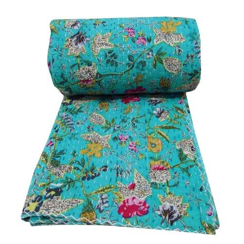 Review Floral Reversible Bedspread Print Kantha Stitch Quilt Pure Cotton Blue Gudri Queen Size Bedsp...