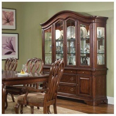 Cheap Heritage Court Buffet with Hutch in Distressed Cocoa Brown (800-370C / 800-372C)