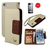 iPhone 5S Case,iPhone 5 Case,By HiLDA,Wallet Case,PU Leather Case,Credit Card Holder,Flip Cover Case[Brown]with 1 FREE HD Screen Protector