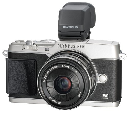 Olympus E-P5 Mirrorless Camera Kit with 17mm f/1.8 Lens and VF-4 Viewfinder (Silver with Black Trim)