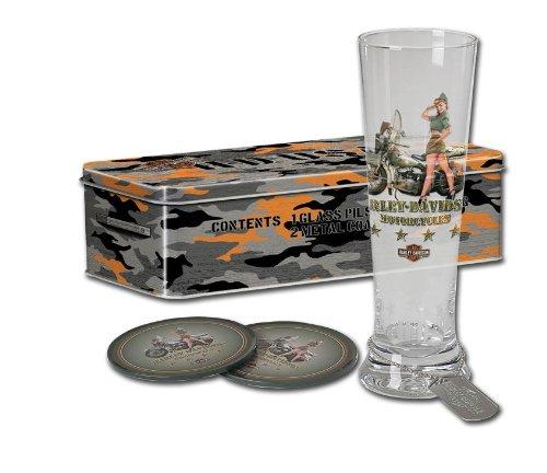 Harley-Davidson® H-D® Military Pin-Up Pilsner Glass Set - Army / Georgia. Collectible Tin. Dog Tags. HDL-18713