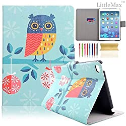 iPad Mini 4 Case,LittleMax(TM) [Card Slots] Smart Auto Wake/Sleep Kickstand Case Cover Leathery Protective Case for iPad Mini 4 (7.9 Inch) [Free Cleaning Cloth,Stylus Pen]-Adorkable Owl