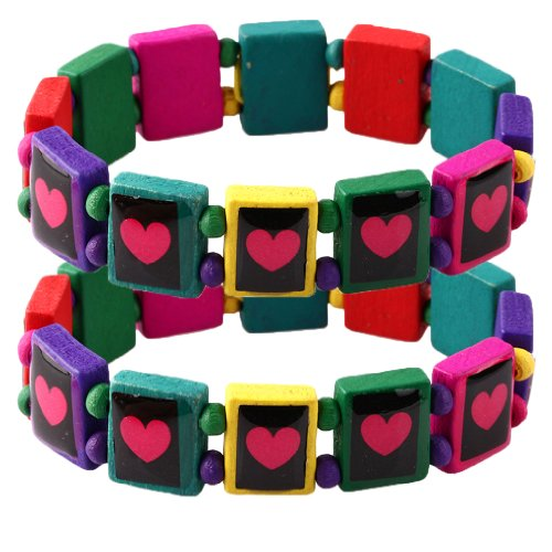 Wood Bracelet Heart on Colorful Wood Elastic - Set of 2 - 1