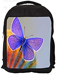 """Snoogg Purple Butterfly Casual Laptop Backpak Fits All 15 - 15.6"""" Inch Laptops"""