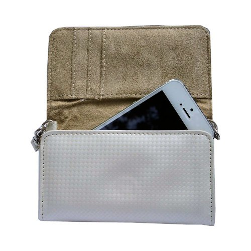 Gomadic White Women Purse Case for Samsung devices Hand and Shoulder Straps Included