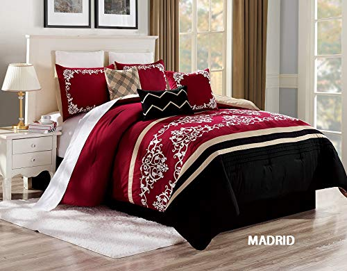Unique Home 7 Pieces Bedding Comforter Set Geometric Medallion Pattern on Soft Brown Color with Pillow Sham Cushion Bed Skirt King