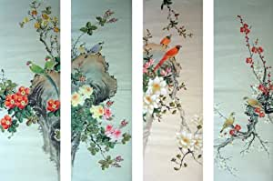 Amazon.com: Artisoo Birds&Flowers(Four Screens) - Chinese Painting