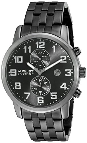 August Steiner Men's Japanese Quartz Watch with Black Dial Analogue Display and Black Stainless Steel Bracelet AS8175BK