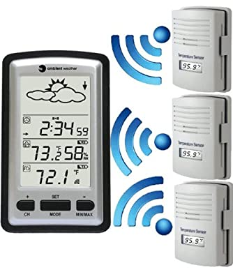 Ambient Weather WS-1280-X3 Wireless Weather Forecaster with Indoor Temperature, Humidity, Three Outdoor Temperature Remotes from Ambient Weather