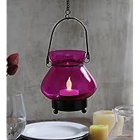 Pink Glass Tea Light Candle Holder – Medium Size