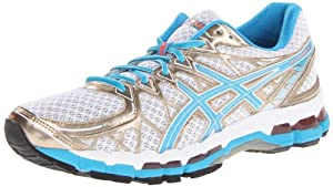 ASICS Women's Gel Kayano 20 Running Shoe,White/Island Blue/Electric Melon,8 M US
