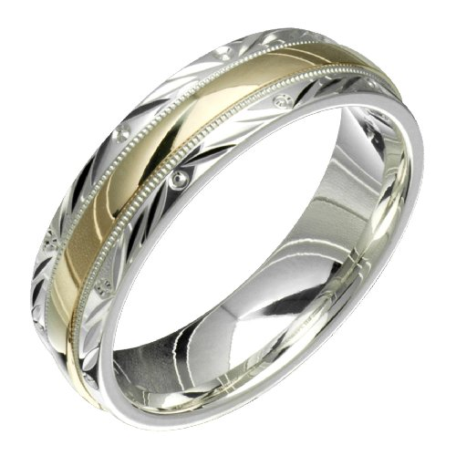 Swirl &#8211; Stunning Two Tone Comfort Fit Wedding Band for Him &#038; Her! Custom Made! Choose your Size.