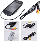 """XCSOURCE® Wireless Car Rear View Kit : 7"""" Security LCD Wide Screen Car Rearview Mirror Monitor + Night Vision Reversing Camera + Rmote Controller + Transmitter + Receiver MA103"""
