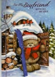 For My Boyfriend With all My Love - Teddy With Skis Large Christmas Greeting Card