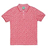 Plums Red Printed Polo T-shirt For Boys