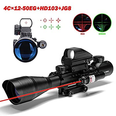 U-ZM Rifle Scopes C4-12x50EG Dual Illuminated Optical + Tactical Red Dot Sight Scope + Red Laser Sight Combination for Hunting from U-ZM