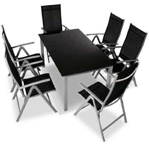 Miadomodo - Conjunto de sillas y mesa de aluminio - set de 7 piezas - color gris claro