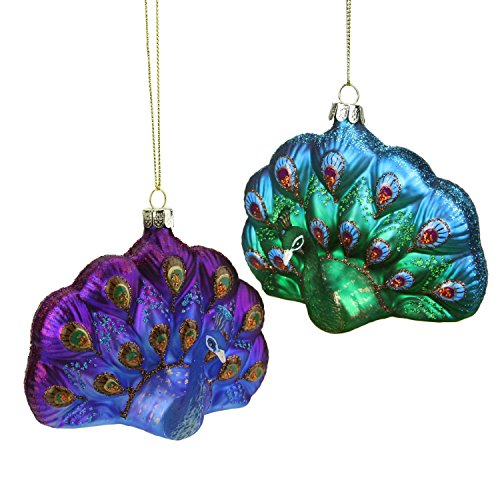 Northlight Regal Peacock Collection Blue and Purple Glittered Glass Peacock Christmas Ornament, 4.25
